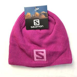 Salomon Logo Beanie Hat Knitted Pink Unisex
